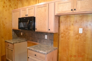 Shot of the kitchen where the stove and frig will be located.